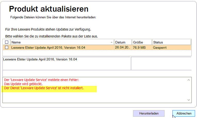Lexware Update gesperrt Update Service nicht installiert