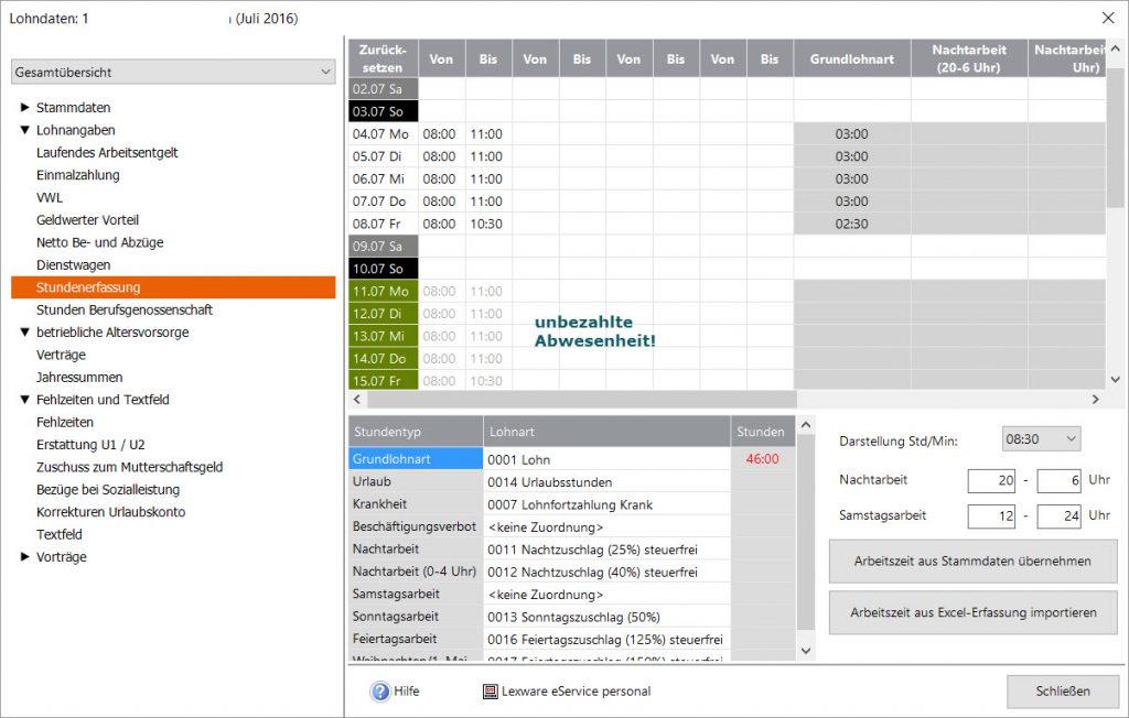Lexware® Lohn Stundenerfassung Stammdaten in Monatsabrechnung