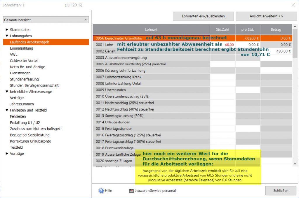 Lexware_Lohne_Stundenanzahl_fuer_MindestLexware® Lohn laut Stammdaten und Monatsabrechnung: Stundenanzahl und Durchschnittslohn ermitteln