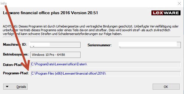 Lexware® Datenverzeichnisse mit internen Links im eigenen PC aufrufen-Einzelplatzversion
