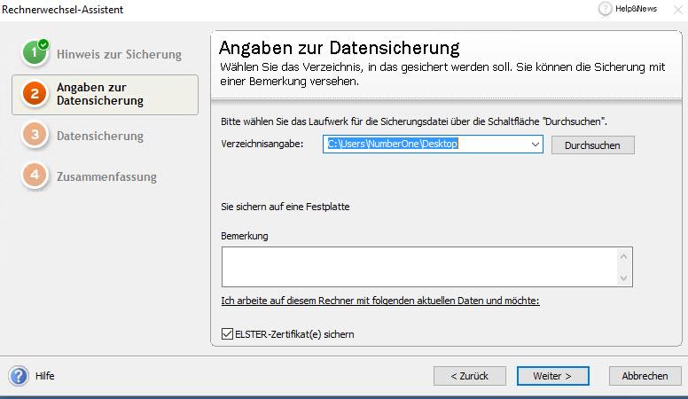 Lexware Rechnerwechsel Elster Zertifikat sichern