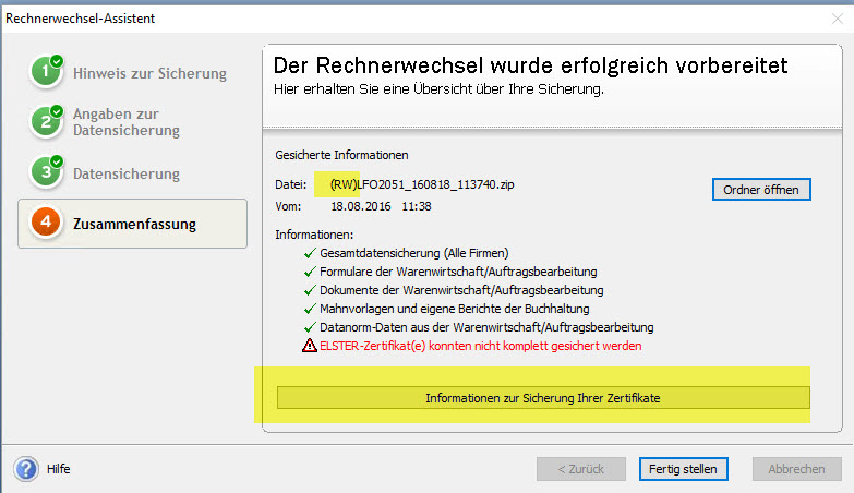Lexware Rechnerwechsel Hinweise zum Schluss
