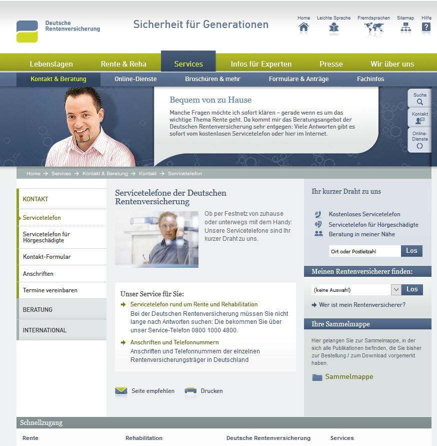 Deutsche Rentenversicherung Servicetelefon