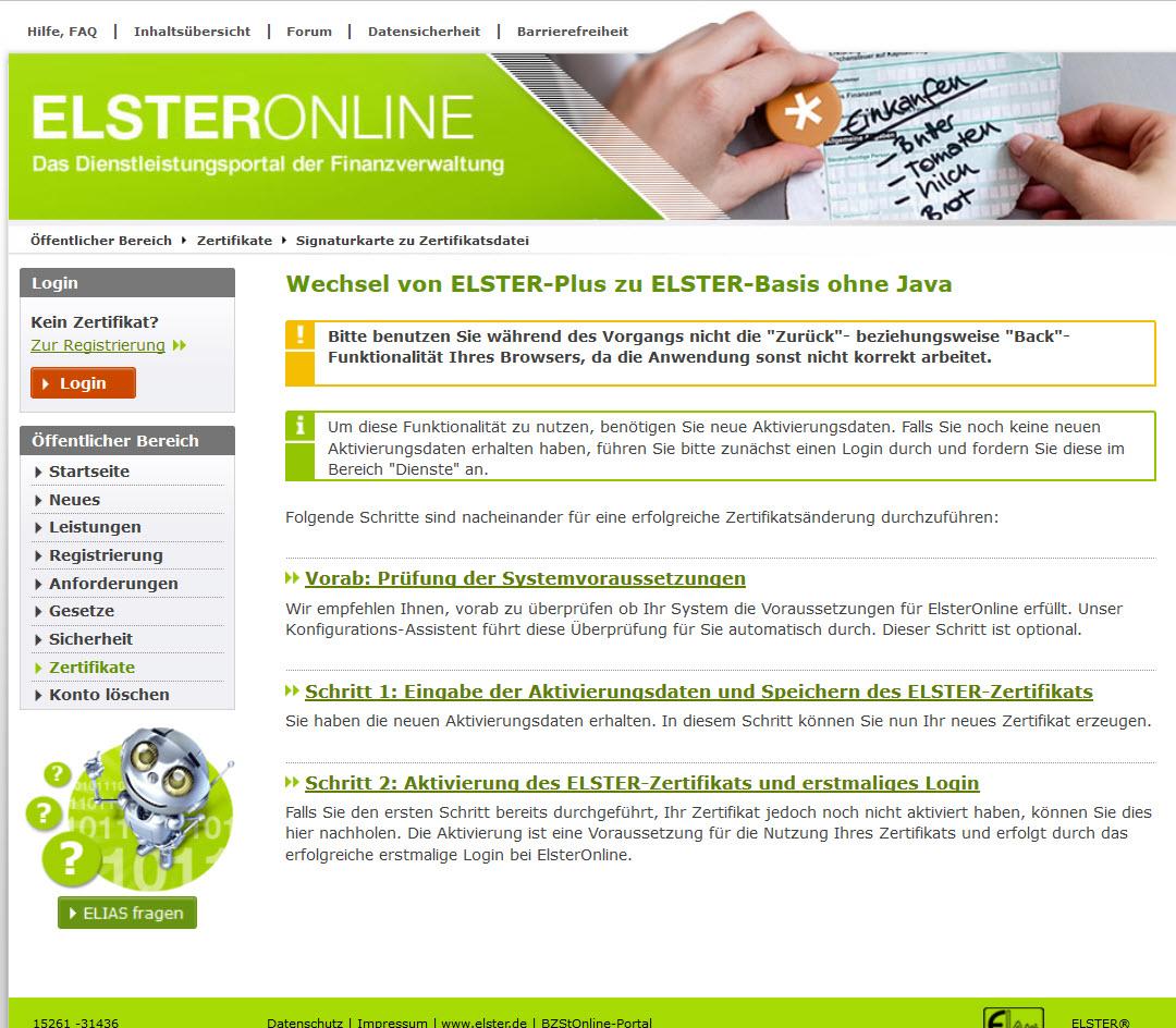 elster online zertifikat