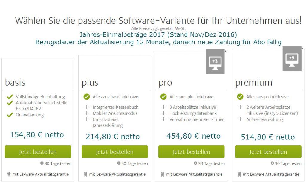Lexware Software 2017 Jahrespreise von Betriebsbetreuung Klein für Einzelkomponenten