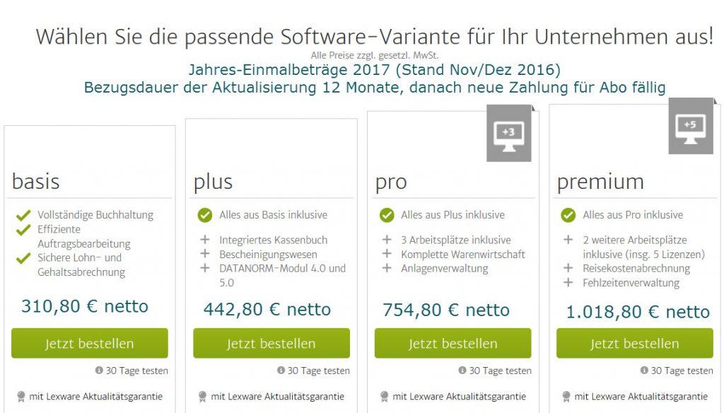 Lexware Software 2017 Jahrespreise von Betriebsbetreuung Klein für Komplettlösungen aus Einzelvarianten