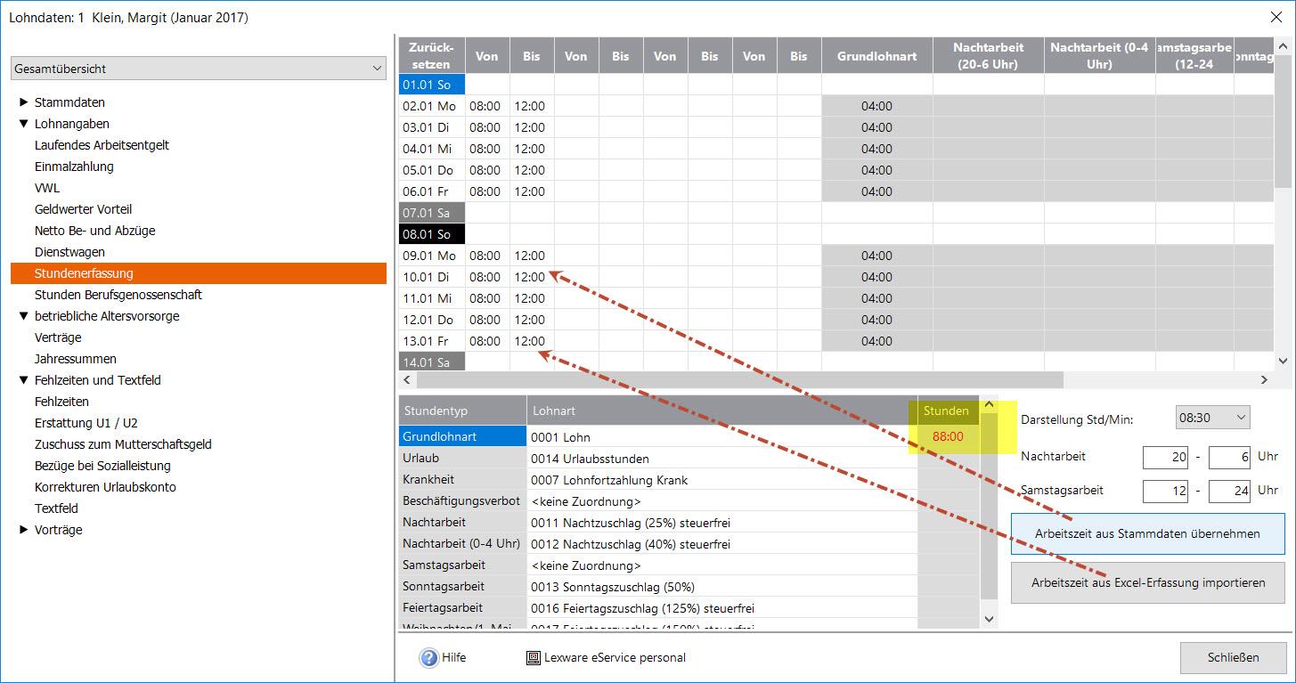 Lexware Lohn Stundenerfassung über Lexware-Excel-Liste als ...