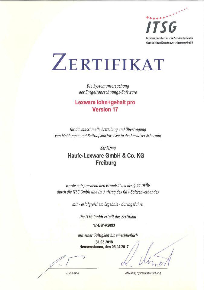 Lexware Lohn: GKV Zertifikat der ITSG von 2017/2018 bis 31.03.2018 ...