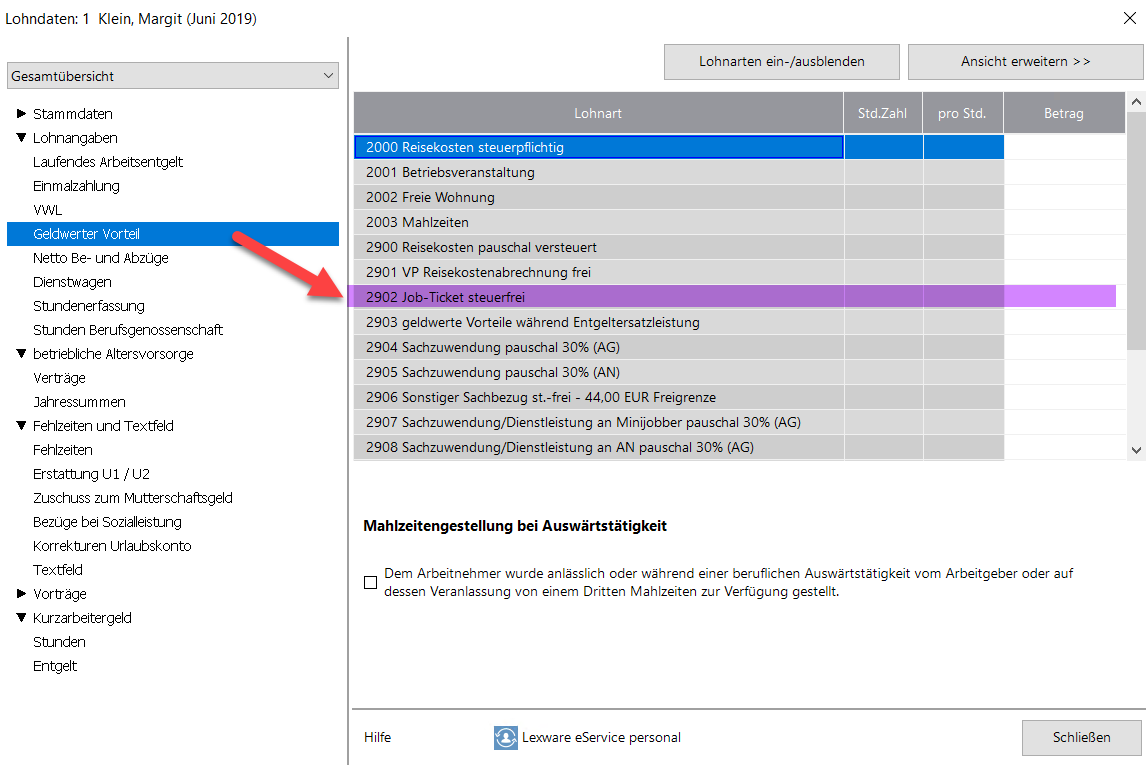 Lern-Ware Lexware Jobticket abrechnen