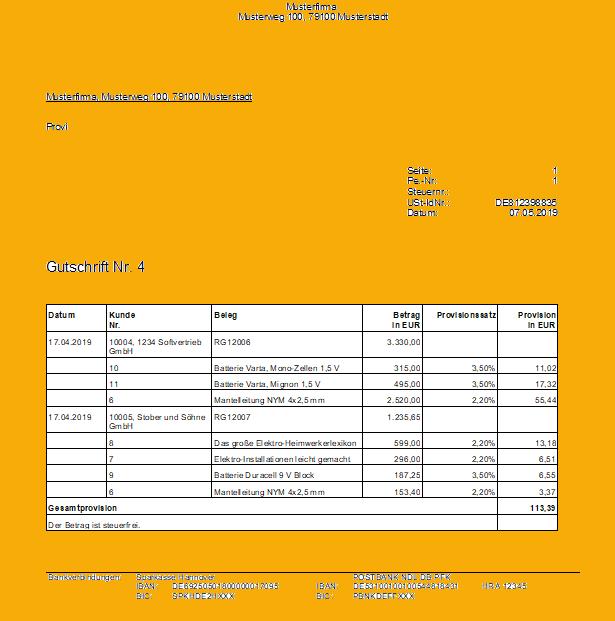 Lexware Provisionsabrechnung für Lohnempfänger oder Kleinunternehmer
