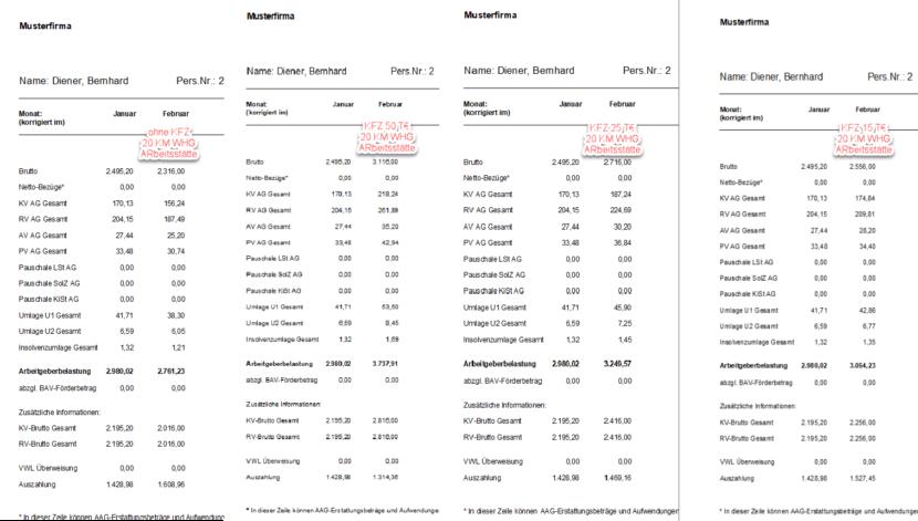 Lern-Ware Lexware Lohn Arbeitgeber-Belastung Dienstwagennutzung Beispielabrechnungen im Vergleich