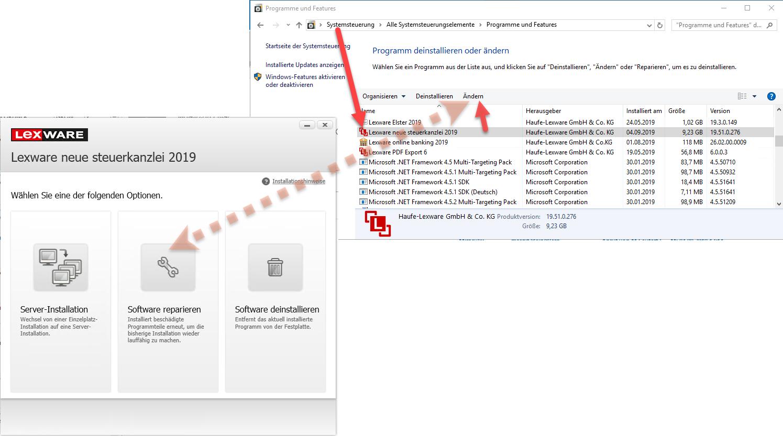Lexware Programme in Systemsteuerung Windows 10 als APP aufsuchen