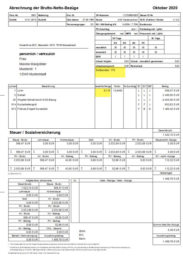 Lenr-Ware für Lexware® KUG Abrechnung als Folgeerscheinung